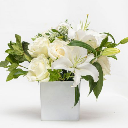 White Lily and Rose in Square Vase