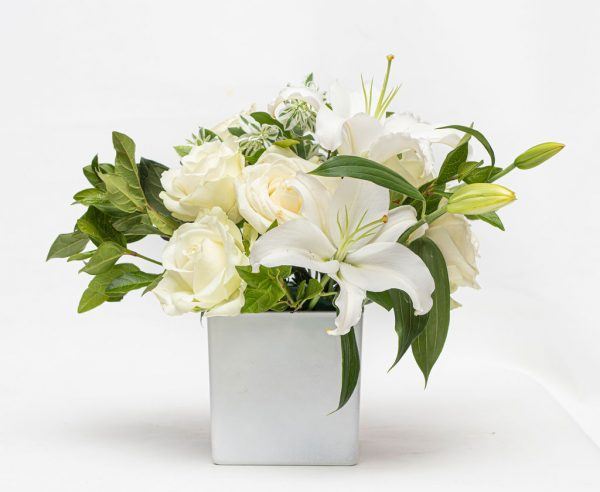 Lilly and Rose Vase in White