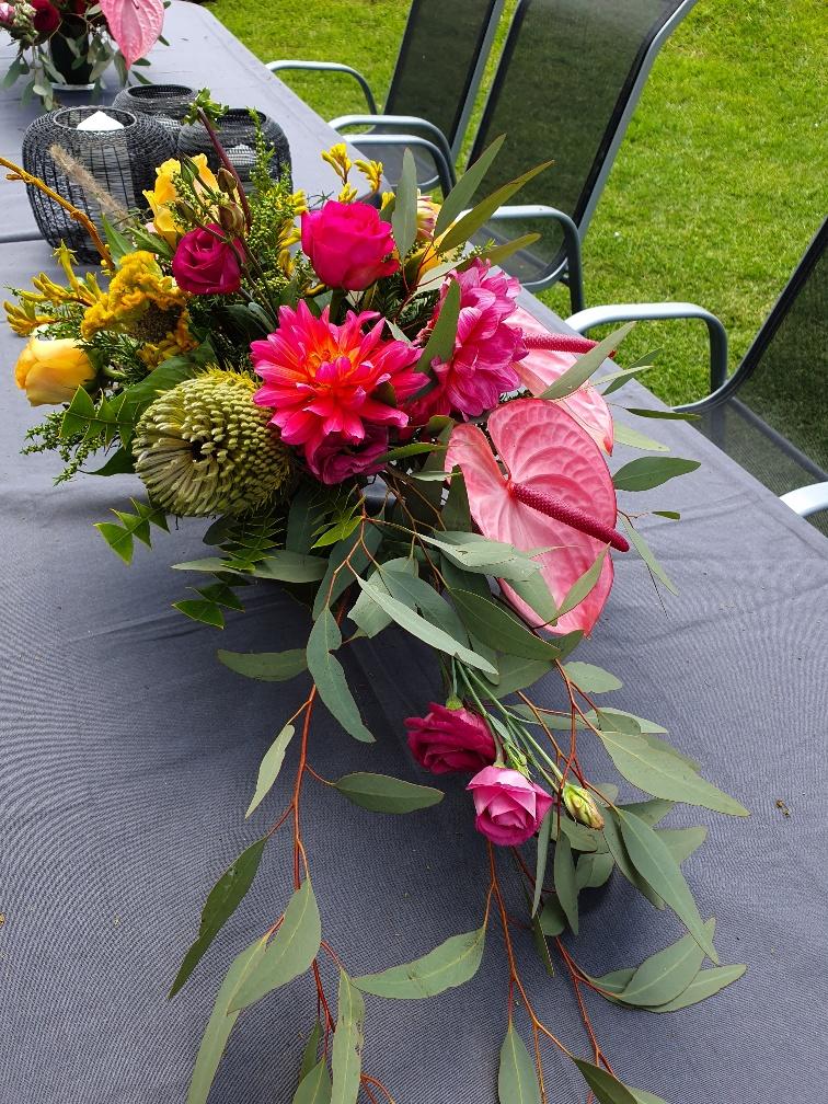 Dahlias, anthiriums, banksia and roses
